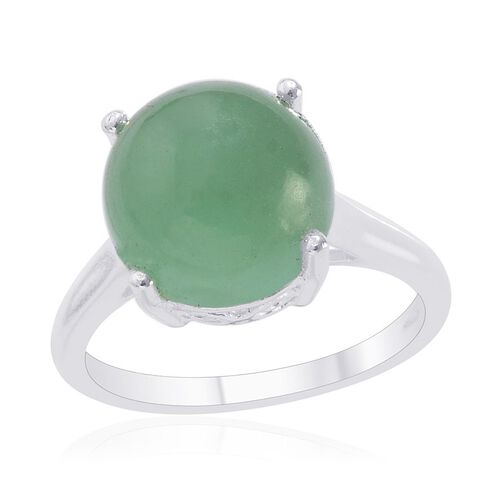 Emerald Quartz (Rnd) Solitaire Ring in Sterling Silver 6.250 Ct.