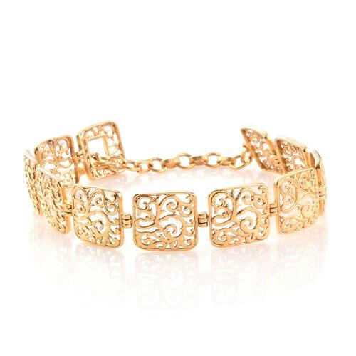 Designer Inspired - 14K Gold Overlay Sterling Silver Filigree Embellished Square Linked Bracelet (Size 7.5), Silver wt. 9.93 Gms.