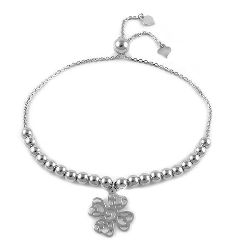 Rhodium Plated Sterling Silver Adjustable Four Leaf Clover Charm Bracelet (Size 6 to 7), Silver wt 5.90 Gms.