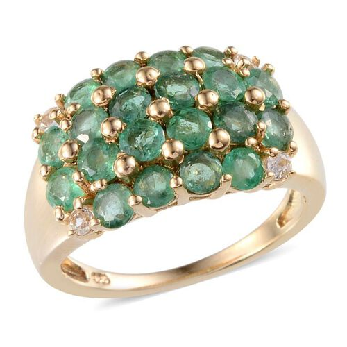 Kagem Zambian Emerald (Rnd), White Topaz Ring in 14K Gold Overlay Sterling Silver 2.400 Ct.