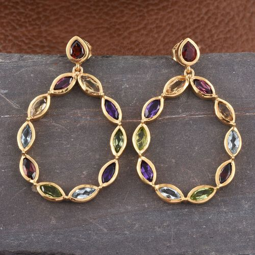 Rhodolite Garnet (Mrq), Mozambique Garnet, Sky Blue Topaz, Hebei Peridot, Citrine and Amethyst Earrings (with Push Back) in 14K Gold Overlay Sterling Silver 5.535 Ct.