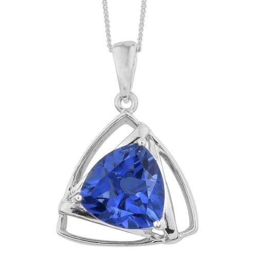 Ceylon Colour Quartz (Trl) Solitaire Pendant With Chain in Platinum Overlay Sterling Silver 5.500 Ct.