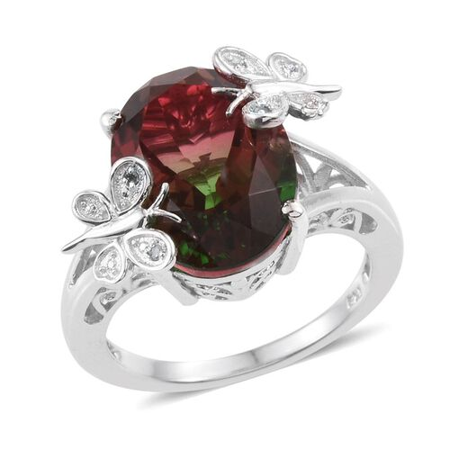 Bi-Color Tourmaline Quartz (Ovl), Diamond Ring in Platinum Overlay Sterling Silver 10.270 Ct.