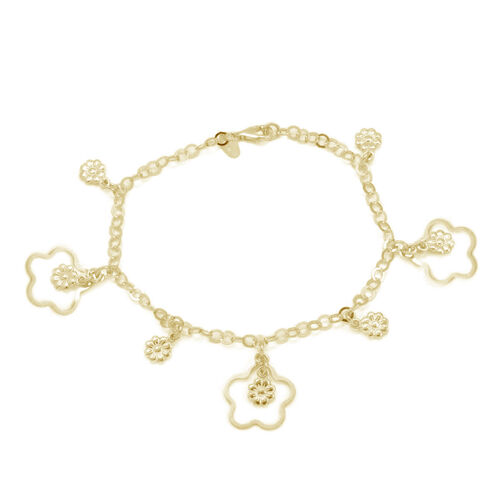 Close Out Deal 14 K Gold Overlay Sterling Silver Floral Charm Bracelet (Size 7), Silver wt 6.50 Gms.