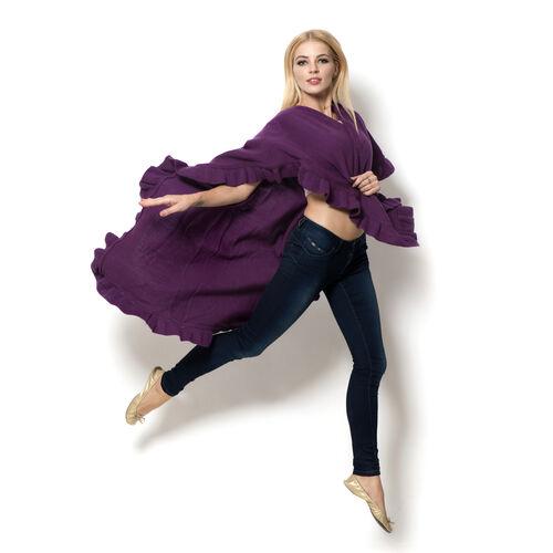Purple Colour Ruana (Size 100x80 Cm)