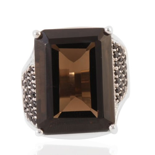 AAA Brazilian Smoky Quartz (Oct 20.00 Ct), Boi Ploi Black Spinel Ring in Rhodium Plated Sterling Silver 21.250 Ct.