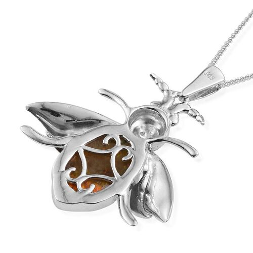Bumble Bee Jasper (Ovl), Diamond Pendant With Chain in Platinum Overlay Sterling Silver 5.510 Ct.