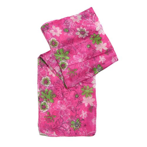 100% Mulberry Silk Green and White Colour Floral Pattern Fuchsia Colour Scarf (Size 180X50 Cm)