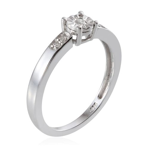 Diamond (Rnd) Ring in Platinum Overlay Sterling Silver 0.070 Ct.