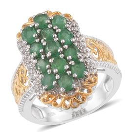 Kagem Zambian Emerald (Ovl), Natural Cambodian Zircon Ring in Platinum and Yellow Gold Overlay Sterling Silver 2.030 Ct.