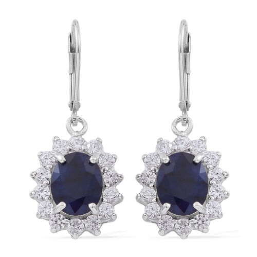 Rare Size Madagascar Blue Sapphire (Ovl 10x8mm), Natural White Cambodian Zircon Lever Back Earrings in Rhodium Plated Sterling Silver 9.150 Ct.