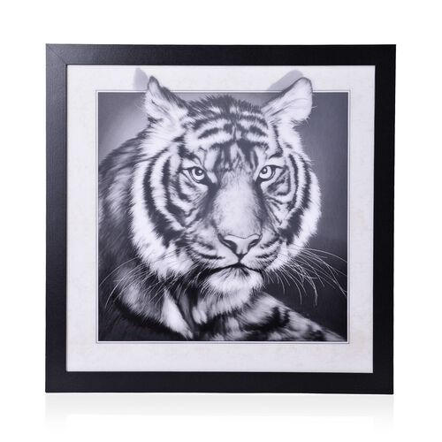 Wall Decor - Black and White Tiger Framed 3D Wall Painting (Size 42x42x1 Cm)