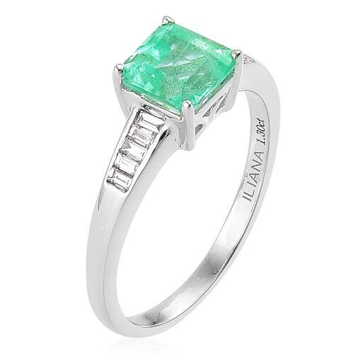 ILIANA 18K W Gold AAAA Boyaca Colombian Emerald (Oct 1.45 Ct), Diamond (SI/G-H) Ring 1.600 Ct.