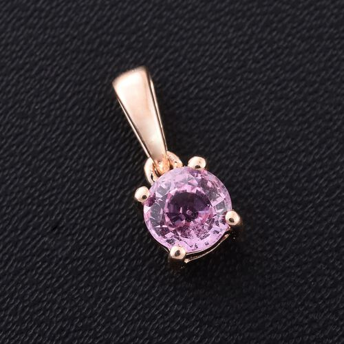 9K Rose Gold 0.50 Ct AA Pink Sapphire Solitaire Pendant