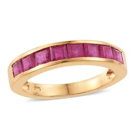 African Ruby (Sqr) Half Eternity Band Ring in 14K Gold Overlay Sterling Silver 2.750 Ct.