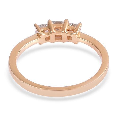 ILIANA 18K Yellow Gold IGI Certified Diamond (Sqr) (SI/ G-H) 3 Stone Engagement Ring 0.500 Ct.