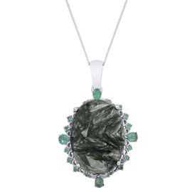 Siberian Seraphinite (Ovl 18.00 Ct), Kagem Zambian Emerald Pendant With Chain in Platinum Overlay Sterling Silver 18.500 Ct.