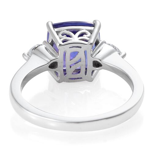 ILIANA 4 Carat AAA Tanzanite with IGI Certified (SI/G-H) Diamond Ring in 18K White Gold