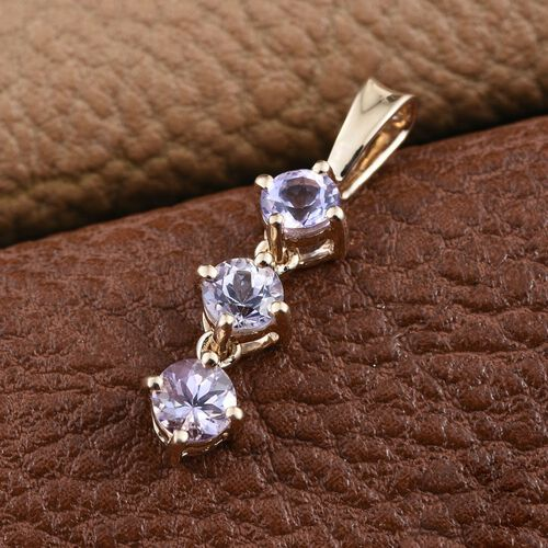 14K Y Gold Rare Natural Pink Tanzanite (Rnd) Trilogy Pendant 0.750 Ct.