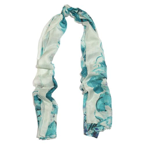 100% Mulberry Silk Turquoise, White and Multi Colour Handscreen Floral Printed Scarf (Size 200X180 Cm)