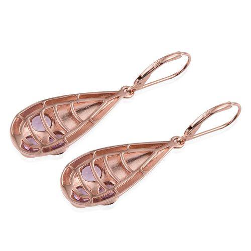 Rose De France Amethyst (Ovl) Lever Back Earrings in Rose Gold Overlay Sterling Silver 1.750 Ct.