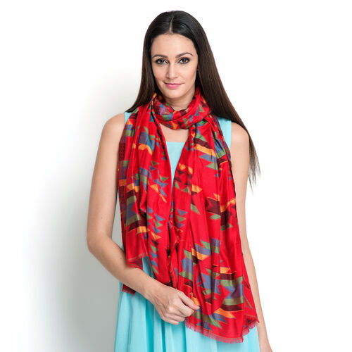 100% Modal Multi Colour Chevron Pattern Red Colour Jacquard Scarf (Size 190x70 Cm)