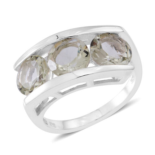 Green Amethyst (Rnd) Trilogy Ring in Sterling Silver 5.000 Ct. Silver Wt 5.05 Gms