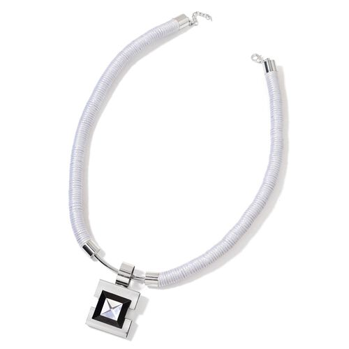 White and Black Crystal Square Pendant Necklace (Size 22 with 4 inch Extender) in Silver Tone