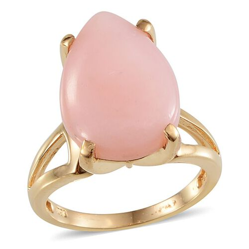 Peruvian Pink Opal (Pear) Solitaire Ring in Yellow Gold Overlay Sterling Silver 7.000 Ct.