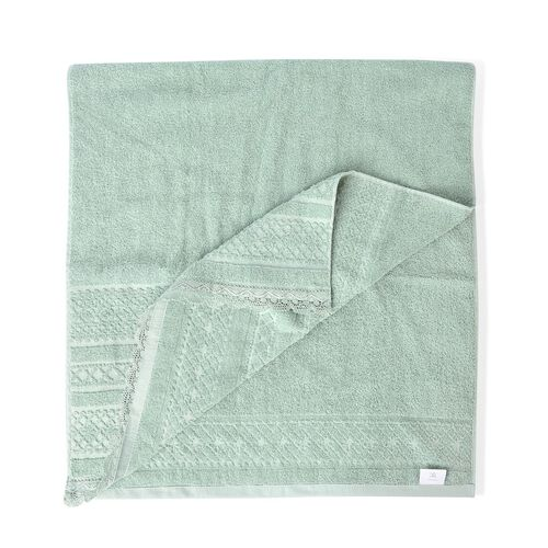 100% Cotton Set of 2 - Light Green Colour Towel with Low Twist Jacquard Border and Lace Large (Size 140x65 Cm) and Small (Size 70x50 Cm)