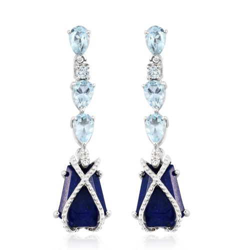 GP Lapis Lazuli, Sky Blue Topaz, Kanchanaburi Blue Sapphire and Natural Cambodian Zircon Dangling Earrings (with Push Back) in Platinum Overlay Sterling Silver 9.250 Ct. Silver wt 5.51 Gms.