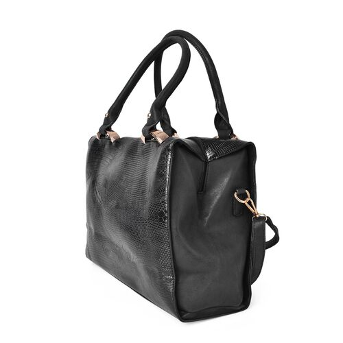 Black Colour Snake Embossed Tote Bag with Adjustable and Removable Shoulder Strap (Size 32.5X29X26X11 Cm)