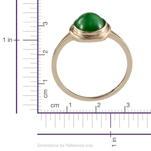 9K Y Gold Green Ethiopian Opal (Ovl) Solitaire Ring 2.500 Ct.