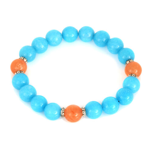 Dyed Aqua and Orange Colour Quartzite (Rnd) Stretchable Bracelet (Size 7) 140.600 Ct.