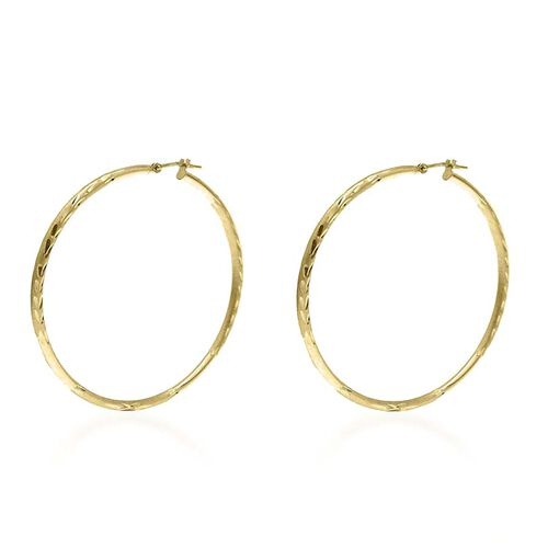 Vicenza Collection 9K Yellow Gold Diamond Cut Hoop Earrings (with Clasp). Gold Wt 2.50 Gms