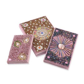 Hand Made - Set of 3 - Multi Colour Beads Embellished Light Pink Colour Notebook (Size 15X10, 13X8 and 10X7 Cm)