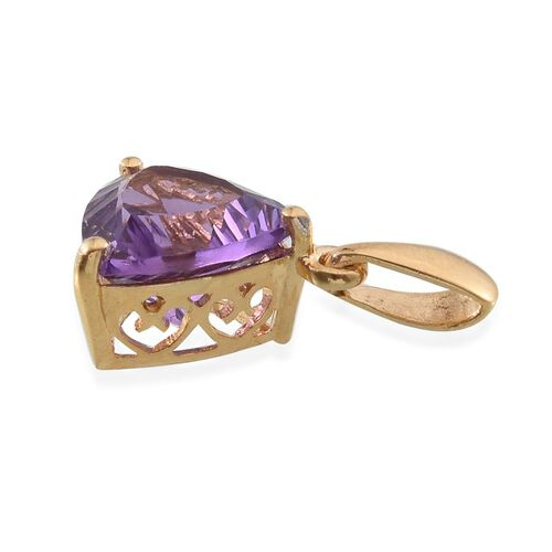 Concave Cut Brazilian Amethyst (Trl) Solitaire Pendant in 14K Gold Overlay Sterling Silver 3.500 Ct.