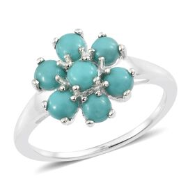 Sonoran Turquoise (Rnd) Floral Ring in Sterling Silver 2.000 Ct.