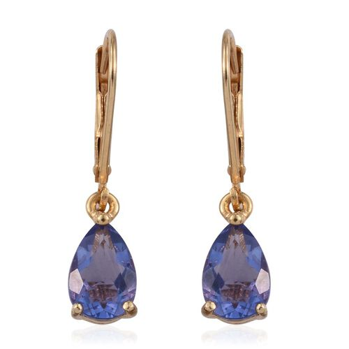 Colour Change Fluorite (Pear) Lever Back Earrings in 14K Gold Overlay Sterling Silver 3.250 Ct.