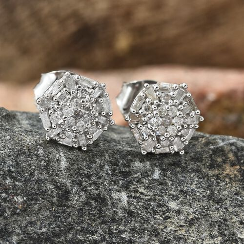 Diamond (Rnd) Stud Earrings (with Push Back) in Platinum Overlay Sterling Silver 0.330 Ct.