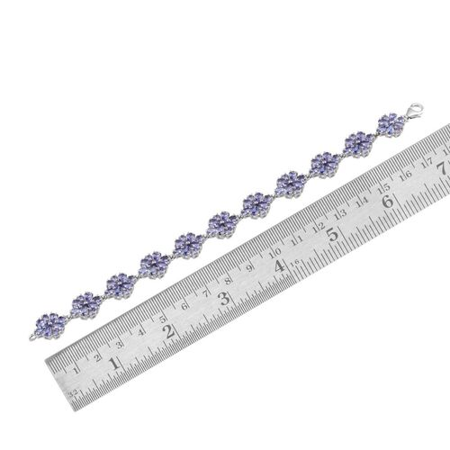 AA Tanzanite (Pear) Bracelet in Platinum Overlay Sterling Silver (Size 7) 11.250 Ct.