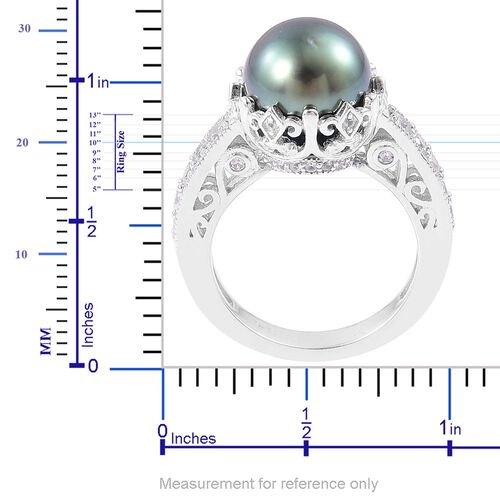 Tahitian Pearl (Rnd 10-11 mm), Natural Cambodian White Zircon Ring in Platinum Overlay Sterling Silver