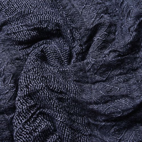 Black Colour Scarf (Size 200X62 Cm) with Black and Grey Colour Hat