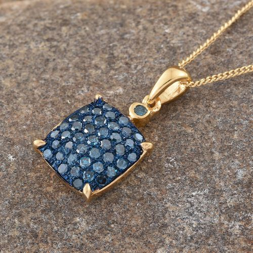 Blue Diamond (Rnd) Pendant with Chain (Size 20) in 14K Gold Overlay Sterling Silver 0.500 Ct.