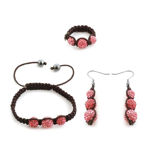 Hematite and Pink Austrian Crystal Hook Earrings, Ring and Bracelet (Adjustable) 10.000 Ct.