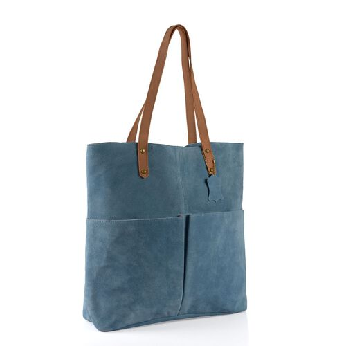 100% Genuine Leather RFID Blocker Sapphire Blue Extra Large Tote Handbag (Size 40X36X10 Cm)