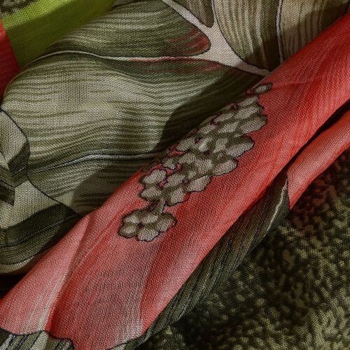 Green, Red and Multi Colour Hibiscus Flower Printed Scarf (Size 180x70 Cm)