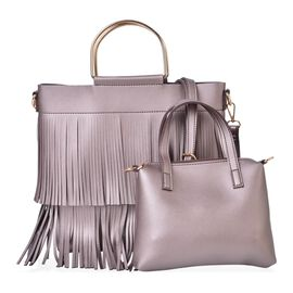 Set of 2 - Bronze Colour Large Handbag with Fringes (Size 30X27X8 Cm) and Small Handbag (Size 22X18X4 Cm) with Adjustable and Removable Shoulder Strap