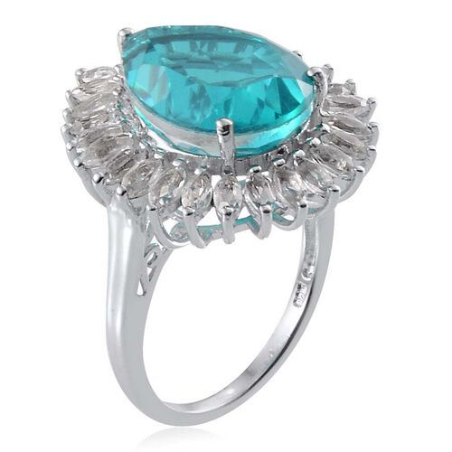 Capri Blue Quartz (Pear 10.25 Ct), White Topaz Ring in Platinum Overlay Sterling Silver 12.750 Ct.