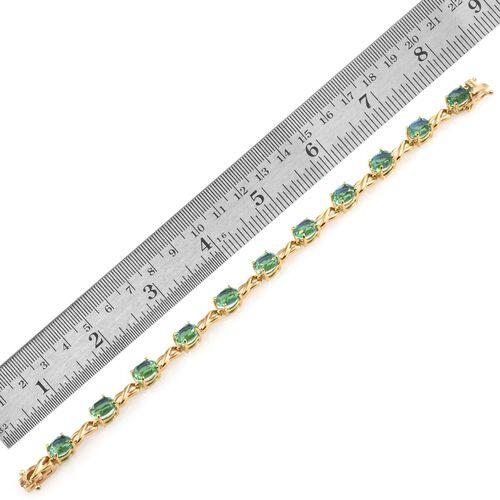 Peacock Quartz (Ovl) Bracelet (Size 7.5) in 14K Gold Overlay Sterling Silver 17.250 Ct.